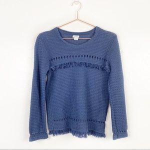 J Crew Navy Blue Long Sleeve Fringe Sweater